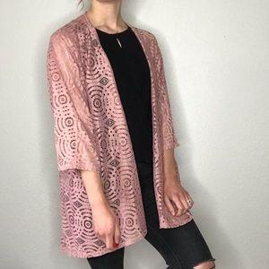 LulaRoe lace Lindsay Kimono blush md